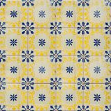 Sammlung blaue und gelbe Musterfliesen Lizenzfreies Stockfoto