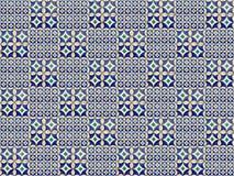 Sammlung blaue und grüne Musterfliesen lizenzfreie stockbilder