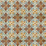 Sammlung blaue und orange Musterfliesen Lizenzfreies Stockfoto