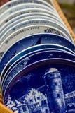Sammlung blaue und weiße Platten der Weinlese Lizenzfreies Stockfoto