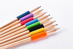 Sammlung Bleistifte auf weißem backgrounnd Stockfotografie