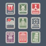 Sammlung Briefmarken, Städte der Welt, Vektor Illustrationen, Stadt stempelt mit Symbolen Lizenzfreies Stockfoto