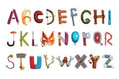Sammlung Buchstaben gemacht von den verschiedenen Gegenständen, vom Lebensmittel und von den Werkzeugen Kreativer ausführlicher G lizenzfreie abbildung