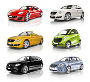 Sammlung bunte Autos in Folge Lizenzfreie Stockfotos