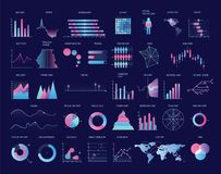 Sammlung bunte Diagramme, Diagramme, Diagramme, Pläne von verschiedenen Arten Statistische Daten und Finanzinformationen lizenzfreie abbildung