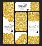 Sammlung bunte Fahnen und Visitenkarten Dekorative Schablonen der Weinlese Lizenzfreie Stockfotos