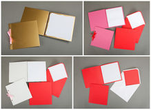 Sammlung bunte Karten und Umschläge über grauem Hintergrund Lizenzfreie Stockbilder