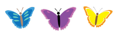 Sammlung bunte Schmetterlinge Stockbild