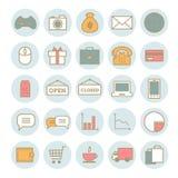 Sammlung dünne Netzikonen des Vektors: Geschäft, Medien, on-line-Handel Stockbilder