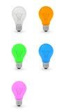 Sammlung 3D Glühlampen Stockfotografie