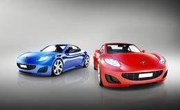 Sammlung 3D Sport-Autos Stockfotografie