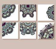Sammlung dekorative Blumengrußkarten herein Lizenzfreies Stockbild