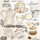 Sammlung dekorative Elemente Tee und Kaffee des Weinlesevektors stock abbildung