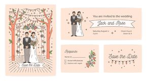 Sammlung der Abwehr die Datumskarte, die Hochzeitszeremonieeinladung und die Antwort merken Schablonen mit netter Karikaturbraut  stock abbildung