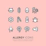 Sammlung der Allergie, des Lebensmittels und der inländischen Haustier-Intoleranz-, Haut-Reaktions-, Augen-und Nasen-Krankheit lizenzfreie abbildung