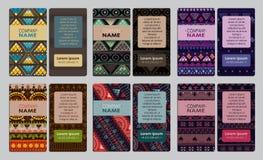 Sammlung der bunten dekorativen Visitenkarte Lizenzfreie Stockfotografie