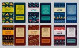 Sammlung der bunten dekorativen Visitenkarte Stockbild