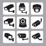 Sammlung der CCTV- und Überwachungskameravektorikone Lizenzfreies Stockfoto
