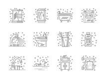 Sammlung der flachen Linie Badezimmerikonen Stockbild