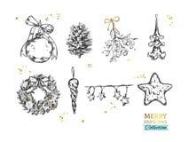 Sammlung der frohen Weihnachten mit gezeichneten Illustrationen des Vektors Hand Weihnachtsball, Tannenbaumkegel, Mistelzweig, ge lizenzfreie abbildung
