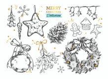 Sammlung der frohen Weihnachten mit Hand gezeichneten Illustrationen Vektor Stockfotos