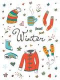 Sammlung der Hand gezeichneten in Verbindung stehenden Grafik des Winters Stockbilder