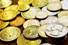 Sammlung der Münzen Stockbild