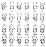 Sammlung der netten und ethnisch verschiedenen männlichen Stock-Zahl Studenten und Kinder lizenzfreie abbildung