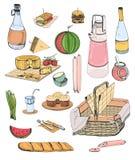 Sammlung der Picknicknahrung oder des Inhalts des Weidenkorbes für Speisen das im Freien lokalisiert auf weißem Hintergrund - Sta lizenzfreie abbildung