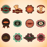 Sammlung der Retro- Bäckerei der Weinlese wird und Aufkleber deutlich Stockfotografie