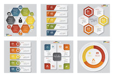 Sammlung der Schablone mit 6 Designen/des Grafik- oder Websiteplans Es kann für Leistung der Planungsarbeit notwendig sein Lizenzfreies Stockfoto