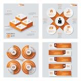 Sammlung der Schablone mit 4 Orangen Farb/des Grafik- oder Websiteplans Es kann für Leistung der Planungsarbeit notwendig sein Lizenzfreie Stockbilder