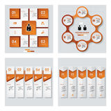 Sammlung der Schablone mit 4 Orangen Farb/des Grafik- oder Websiteplans Es kann für Leistung der Planungsarbeit notwendig sein Stockfotos