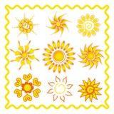 Sammlung der Sonne in ethno Art lizenzfreie abbildung