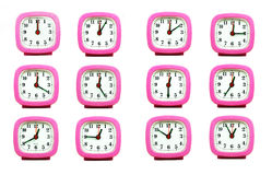 Sammlung der Uhr von 12:00 zu 1:00 morgens und P.M. lokalisiert im whi Stockfoto