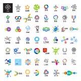 Sammlung der Vektorlogo-Linkkommunikation Stockbilder