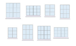 Sammlung der verschiedenen Fenstereinheit Lizenzfreie Stockbilder