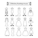 Sammlung der weißen dünnen Linie Brautkleider - Vektorillustration auf Lager Brautkleiderschattenbild Stockbilder