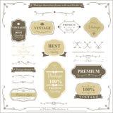 Sammlung der Weinleserahmengrenzregel und -Gestaltungselements Stockbild