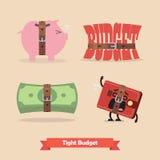 Sammlung des festen Budgets und der schrumpfend Wirtschaft der Rezession Stockbild