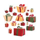 Sammlung des flachen Präsentkartons des unterschiedlichen Karikaturvolumens lokalisiert auf weißem Hintergrund Neuen Jahres und W stock abbildung