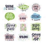 Sammlung des Frühlings- oder Frühjahrbeschriftens handgeschrieben mit künstlerischen kalligraphischen Güssen und durch natürliche stock abbildung