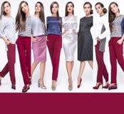 Sammlung des hübschen Mädchens des Fotos in der modernen stilvollen Kleidung, gehend auf einen weißen Hintergrund Lizenzfreie Stockbilder