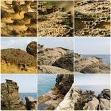 Sammlung des Küstenfelsens Stockfoto