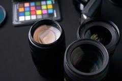 Sammlung des Kameraobjektivs Stockfotografie