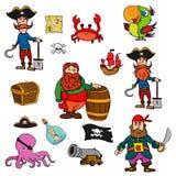 Sammlung des Karikaturpiraten Abenteuersatz des Piraten auf weißer Hintergrund Vektorillustration stock abbildung