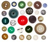Sammlung des nähenden Knopfes auf weißem Hintergrund Stockbild