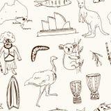 Sammlung des nahtlosen Musters des Australien-Gekritzelvektors Lizenzfreie Stockfotografie
