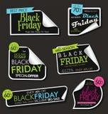 Sammlung des schwarzen Freitag-Verkaufsrabattes und der Förderungsfahnen und der -aufkleber Vektor Abbildung