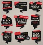 Sammlung des schwarzen Freitag-Verkaufsrabattes und der Förderungsfahnen und der -aufkleber Lizenzfreie Abbildung